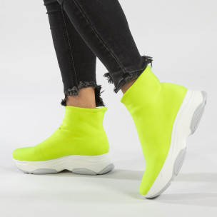 Γυναικεία πράσινα φωσφοριζέ αθλητικά παπούτσια Slip-on