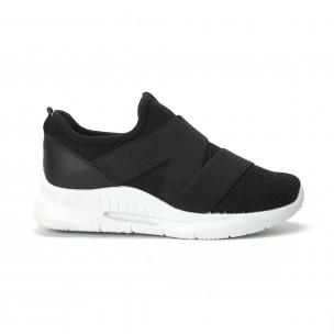 Slip-on γυναικεία μαύρα sneakers με λάστιχα