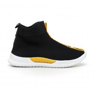 Ανδρικά slip-on μαύρα αθλητικά παπούτσια κάλτσα με κίτρινη επιγραφή 2