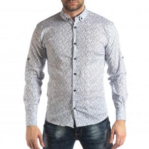 Ανδρικό λευκό Slim fit πουκάμισο με μοτίβο φύλλα