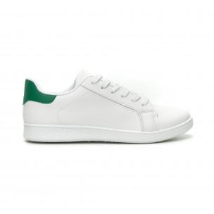 Ανδρικά λευκά αθλητικά παπούτσια με πράσινη λεπτομέρεια