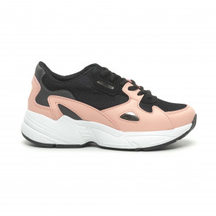 Γυναικεία ροζ αθλητικά παπούτσια με χοντρή σόλα FM