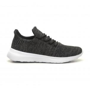 a7e6acb511 Ανδρικά μαύρα μελάνζ αθλητικά παπούτσια ελαφρύ μοντέλο με διακόσμηση Niadi  ...