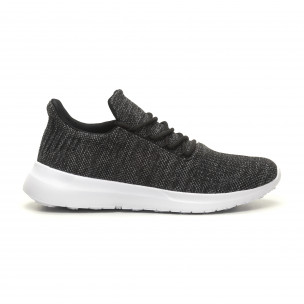 Ανδρικά μαύρα μελάνζ αθλητικά παπούτσια ελαφρύ μοντέλο με διακόσμηση