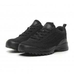 Ανδρικά μαύρα αθλητικά παπούτσια All Black με Chunky σόλα 2
