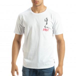 Ανδρική λευκή κοντομάνικη μπλούζα Pray Trust