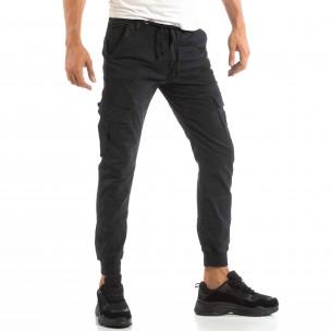 Ανδρικό σκούρο μπλε παντελόνι cargo Jogger με κορδόνι στη μέση
