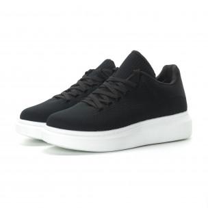 Ανδρικά μαύρα υφασμάτινα sneakers με χοντρή σόλα 2