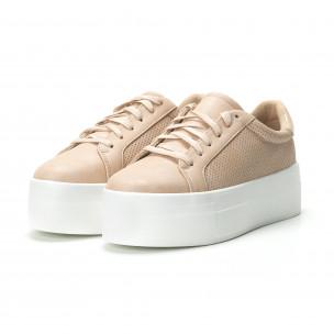 Γυναικεία μπεζ sneakers με πλατφόρμα  2