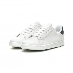 Ανδρικά λευκά αθλητικά παπούτσια με μπλέ λεπτομέρεια  2