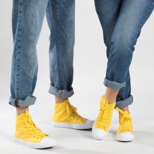 Ψηλά κίτρινα sneakers για ζευγάρια