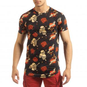Ανδρική μαύρη κοντομάνικη μπλούζα Skull Love