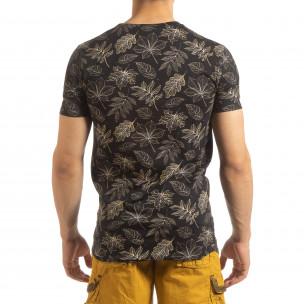 Ανδρική μαύρη κοντομάνικη μπλούζα Leaves σχέδιο 2