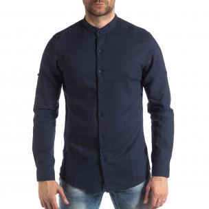 Ανδρικό σκούρο μπλε πουκάμισο από λινό και βαμβάκι 2