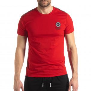 Ανδρική κόκκινη κοντομάνικη μπλούζα με λογότυπο 2
