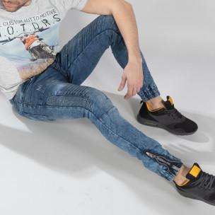 Ανδρικό μπλε τζιν Jogger Jeans σε ροκ στυλ 2