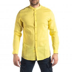 Ανδρικό κίτρινο πουκάμισο από λινό και βαμβάκι Leeyo 2