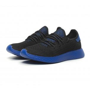 Ανδρικά μαύρα αθλητικά παπούτσια Mesh με μπλε λεπτομέρειες 2