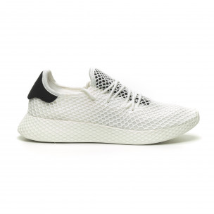 Ανδρικά λευκά αθλητικά παπούτσια Mesh με μαύρες λεπτομέρεις