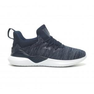 Ανδρικά μπλε μελάνζ αθλητικά παπούτσια πλεκτό μοντέλο