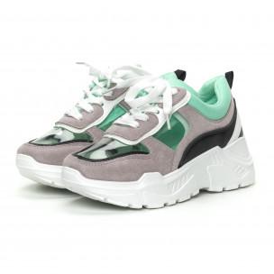 Γυναικεία πράσινα αθλητικά παπούτσια με διαφάνειες 2