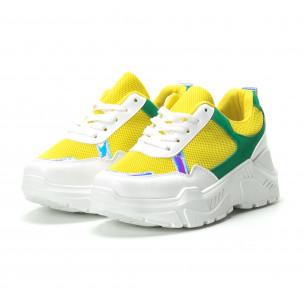 Γυναικεία πράσινα- κίτρινα sneakers με πλατφόρμα  2