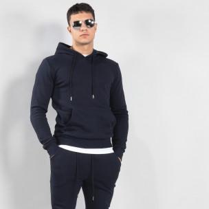 Ανδρικό σκούρο μπλε φούτερ Basic με τσέπη καγκουρό