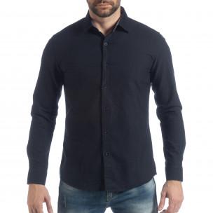 Ανδρικό σκούρο μπλε πουκάμισο Slim fit