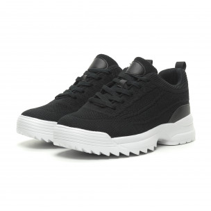 Ανδρικά μαύρα αθλητικά παπούτσια με Chunky σόλα 2