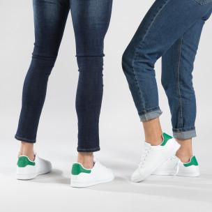 Basic λευκά sneakers για ζευγάρια με πράσινη λεπτομέρεια