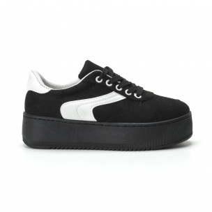Γυναικεία μαύρα σουέτ sneakers με πλατφόρμα  2