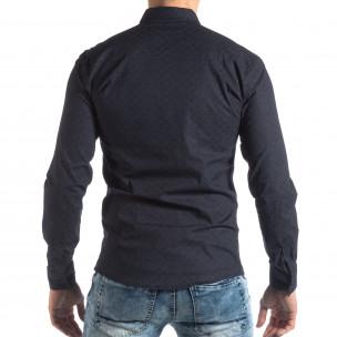 Ανδρικό Slim fit σκούρο μπλε πουκάμισο με φλοράλ μοτίβο  2