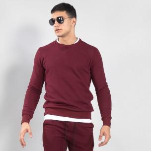 Ανδρική μπορντό βαμβακερή μπλούζα Basic