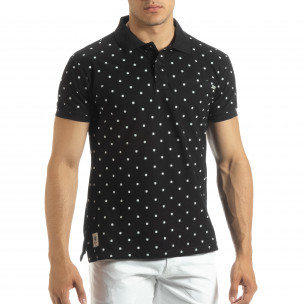 Ανδρική μαύρη polo shirt με Clover μοτίβο
