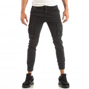 Ανδρικό γκρι παντελόνι cargo Jogger με τσέπες  2