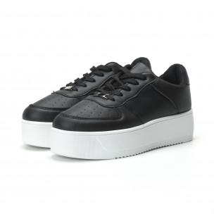 Basic γυναικεία μαύρα sneakers με πλατφόρμα  2