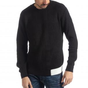 Ανδρικό μαύρο πλεκτό πουλόβερ