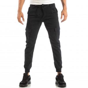 Ανδρικό σκούρο μπλε παντελόνι cargo Jogger με κορδόνι στη μέση  2