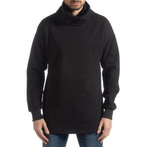 Ανδρική μαύρη μπλούζα με γιακά Oversized