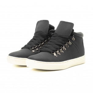 Ανδρικά μαύρα ψηλά sneakers με κορδόνια  2