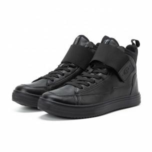 Ανδρικά μαύρα sneakers με αυτοκόλλητο  2