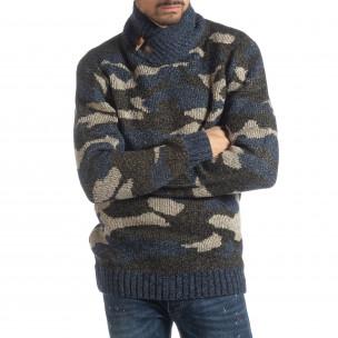 Ανδρικό μπλε πουλόβερ παραλλαγής με γιακά