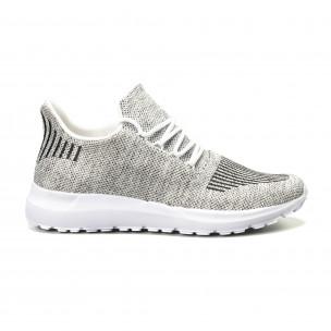 Ανδρικά λευκά μελάνζ αθλητικά παπούτσια