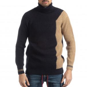Ανδρικό πουλόβερ σε σκούρο μπλε και μπεζ
