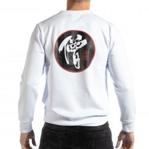 Ανδρική λευκή μπλούζα με ανατολίτικο μοτίβο  2