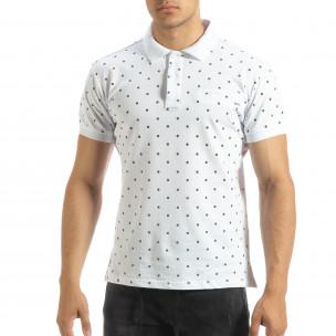 Ανδρική λευκή  polo shirt με Clover μοτίβο