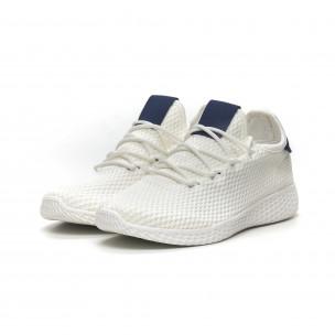 Ανδρικά λευκά αθλητικά παπούτσια με μπλέ λεπτομέρεια ελαφρύ μοντέλο  2