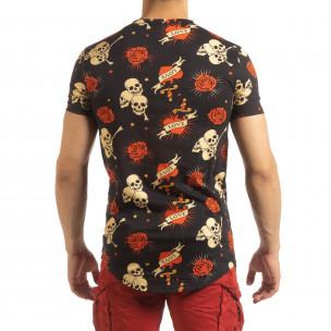 Ανδρική μαύρη κοντομάνικη μπλούζα Skull Love  2
