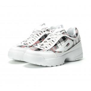 Γυναικεία λευκά καρέ sneakers με Chunky πλατφόρμα  2