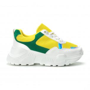 Γυναικεία πράσινα- κίτρινα sneakers με πλατφόρμα